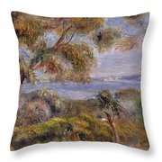 The Sea At Cagnes Throw Pillow by Pierre Auguste Renoir