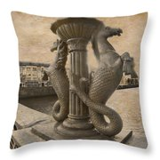 The Seahorses 3 Sepia Throw Pillow