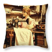 The Seamstress At Work Throw Pillow