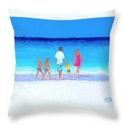 The Seaside Holiday - Beach Painting Throw Pillow
