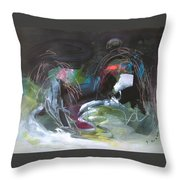 The Secret Of The Shadow Original Abstract Colorful Landscape Painting For Sale Red Blue Green Throw Pillow