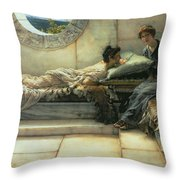 The Secret Throw Pillow by Sir Lawrence Alma-Tadema