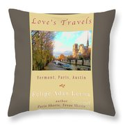 The Seine And Quay Beside Notre Dame, Autumn Cover Art Throw Pillow