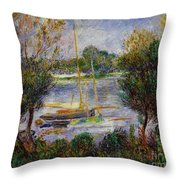 The Seine At Argenteuil Throw Pillow by Pierre Auguste Renoir
