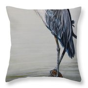 The Sentinel - Portrait Of A Great Blue Heron Throw Pillow