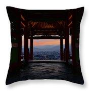 The Setting Sun And Kiyomizu-dera Throw Pillow
