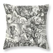 The Seven-headed Beast And The Beast With Lamb's Horns Throw Pillow
