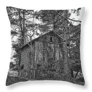 The Shack In Black And White Throw Pillow