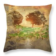 The Shadow Of Olives Throw Pillow