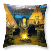 The Shamans Council Throw Pillow