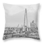 The Shard Outline Poster Bw Throw Pillow