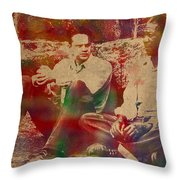 The Shawshank Redemption Movie Inspired Watercolor Portrait Of Tim Robbins And Morgan Freeman On Worn Distressed Canvas Throw Pillow