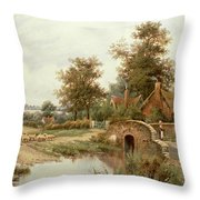 The Sheep Drover Throw Pillow
