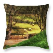 The Sheep's In The Meadow Throw Pillow