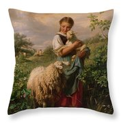 The Shepherdess Throw Pillow by Johann Baptist Hofner