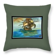 The Ship Plying On The River Throw Pillow