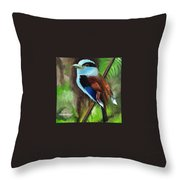 The Silver Breasted Broadbill Throw Pillow