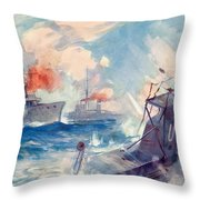 The Sinking Of A German U Boat After Being Rammed By The British Cruiser  Throw Pillow