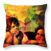 The Sistine Modonna Baby Angels In Abstract Space 20150622 Square Throw Pillow