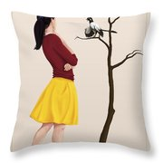 The Size Of An Archaeopteryx Perched Throw Pillow