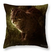 The Sleepy Wild Cat Throw Pillow