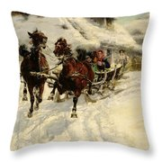 The Sleigh Ride Throw Pillow by JFJ Vesin