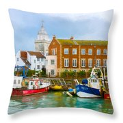 The Small Fishing Port Throw Pillow by Trevor Wintle