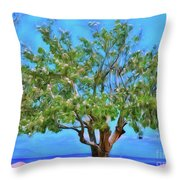 The Smiling Tree Of Benitses Throw Pillow
