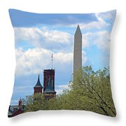 The Smithsonian Castle And Washington Monument In Green Throw Pillow