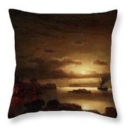 The Smugglers Harbor Throw Pillow