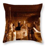 The Snake Oil Shop - Sepia Throw Pillow