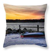 The Snow Boat Throw Pillow