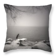 The Snow Gatherer Throw Pillow