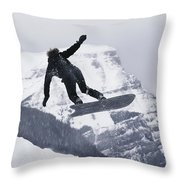 The Snowboard Championships Were Held Throw Pillow