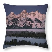 The Snowcapped Grand Tetons Throw Pillow by Dick Durrance Ii