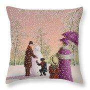 The Snowman Throw Pillow by Peter Szumowski