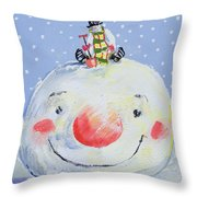 The Snowman's Head Throw Pillow