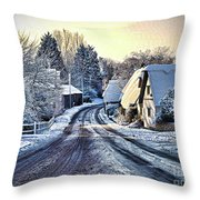 The Snowy Cottages Throw Pillow