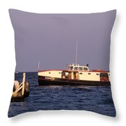 The Sonny S Ferry Docking At Middlebass Island Throw Pillow