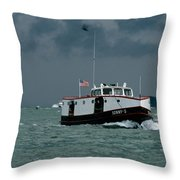 The Sonny S Returning From Lonz Winery On Middle Bass Island Throw Pillow