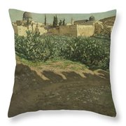 The Southwest Corner Of The Esplanade Of The Haram Throw Pillow by Tissot