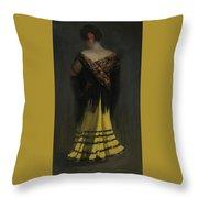 The Spanish Shawl - Portrait Of Jeanne Frankenberg Throw Pillow