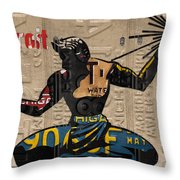 The Spirit Of Detroit Statue Recycled Michigan License Plate Art Homage Throw Pillow
