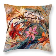 The Splash Of Life 17. Humming-bird And Exotic Flowers Throw Pillow