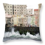 The Spume At Malecon Throw Pillow