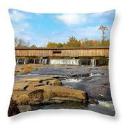 The Square Dance Venue Watson Mill Covered Bridge Throw Pillow