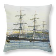 The Square-rigged Australian Clipper Old Kensington Lying On Her Mooring Throw Pillow