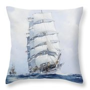 The Square-rigged Wool Clipper Argonaut Under Full Sail Throw Pillow
