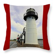 The St. Joseph Lighthouses In Michigan Throw Pillow