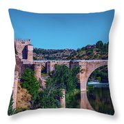 The St. Martin Bridge Over The Tagus River In Toledo Throw Pillow